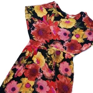 Jonathan Martin Red Floral Batwing Sleeve Dress